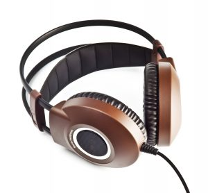black and brown stereo headphones isolated on white
